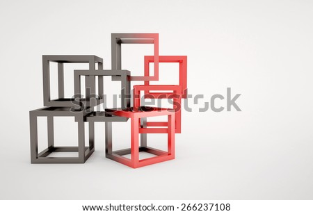 Cubes abstract composition with black and red cubes union concept - stock photo