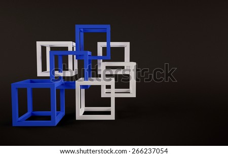 Cubes abstract composition with blue and white cubes union concept - stock photo