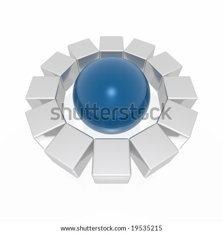 cubes around sphere (from blue and silver series) - stock photo