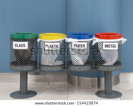 cubes arranged in an airport lounge to deposit the various waste - stock photo