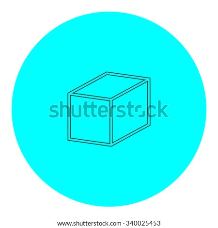 Cubes. Black outline flat symbol on blue circle. Simple illustration pictograh on white background