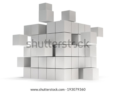 Cubes block. Assembling concept. Teamwork Business On white background. 3D render icon. - stock photo