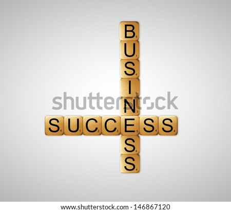 cubes crossword success of business on white background - stock photo