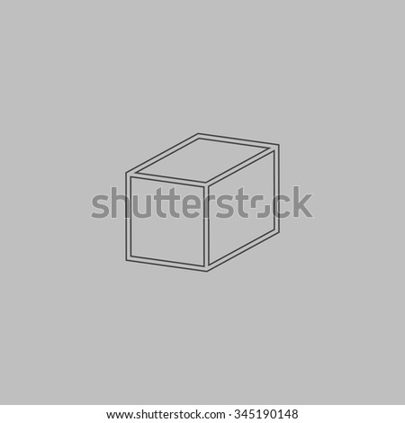 Cubes. Flat outline icon on grey background