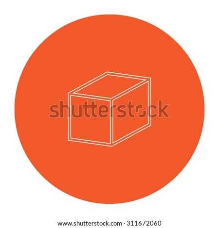 Cubes. Flat white symbol in the orange circle. Outline illustration icon