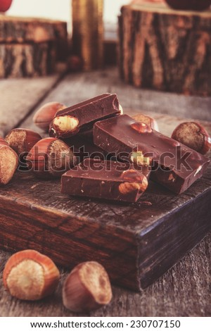 cubes of chocolate with hazelnuts or nuts around  on  wooden piece of plate - stock photo