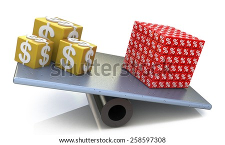 Cubes of dollars and percent on scales balance  - stock photo