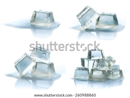 Cubes of ice on a white background. - stock photo