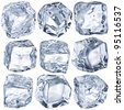 Cubes of ice on a white background. File contains the path to cut. - stock photo