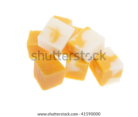cubes of marble cheddar cheese isolated on white background - stock photo