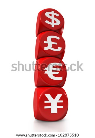 Cubes representing the four main currencies of the world - stock photo