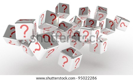 Cubes with a question, 3D images - stock photo