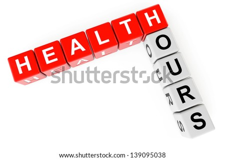 Cubes with health hours sign on a white background