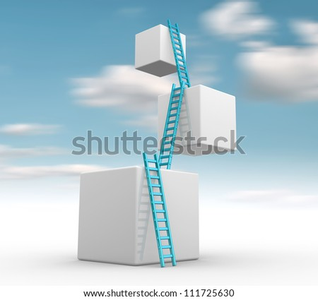 Cubes with  ladders. Progress concept.  3d render - stock photo