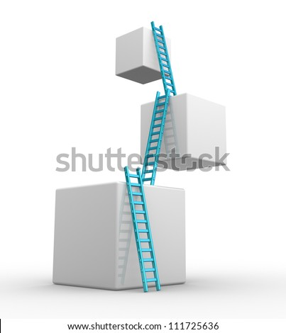 Cubes with  ladders. Progress concept.  3d render