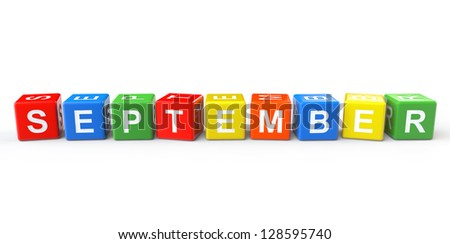 Cubes with September sign on a white background