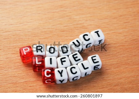 cubes with text PLC ,Product Life Cycle on wood