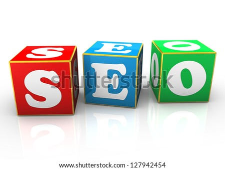 Cubes with the text SEO. White background. - stock photo