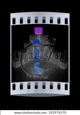 cubic diagram structure and piggy bank on a black background. The film strip - stock photo
