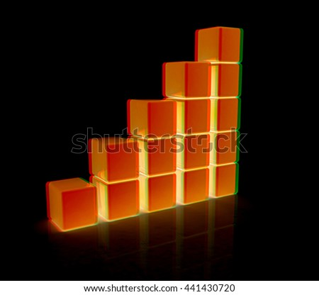 cubic diagram structure. On a black background. 3D illustration. Anaglyph. View with red/cyan glasses - stock photo