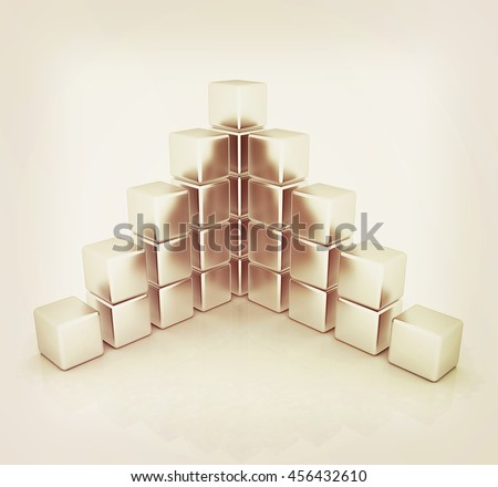 cubic diagram structure on a white background. 3D illustration. Vintage style. - stock photo