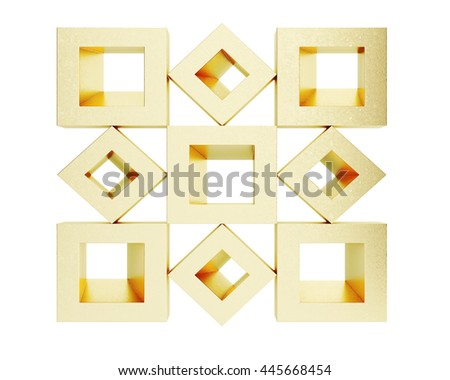 Cubic golden shapes isolated on white background. 3d rendering - stock photo