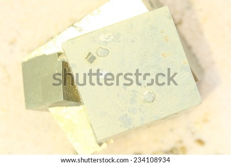 cubic mineral, iron pyrite - stock photo