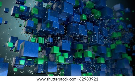Cubic particles background - stock photo