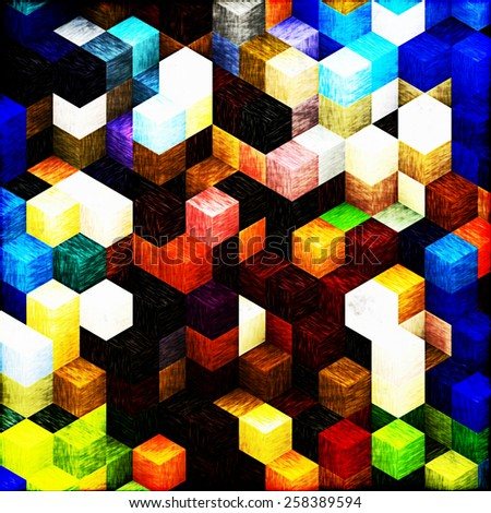 cubic, quadratic abstract, mathematical shapes, wood quadratic, eye illusion, cubism art, sharp parts, structure style - stock photo