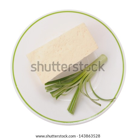 cubic tofu and onion on dish - stock photo