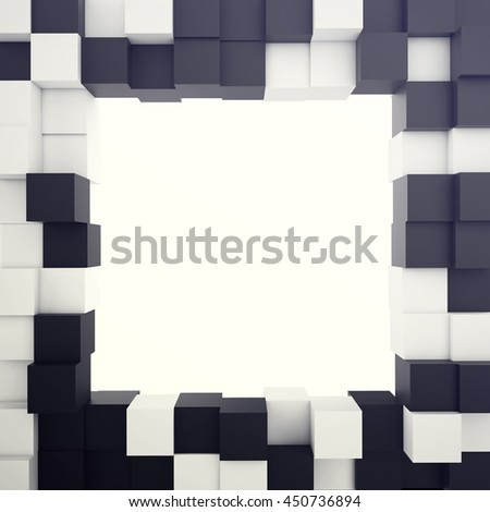Cubical white and black background with hole in centre. 3d illustration - stock photo