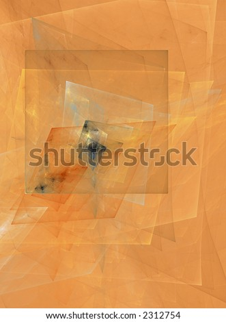 Cubism; a computer generated fractal orange design - stock photo