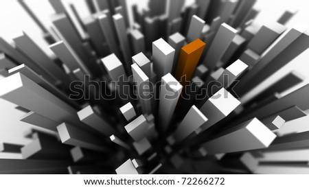 cuboid city - stock photo