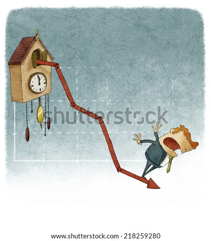 cuckoo clock growth graph with negative results  - stock photo