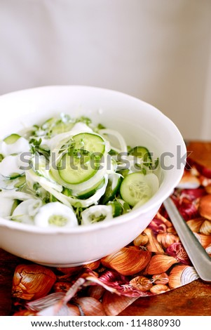 Cucumber and pickled onion salad