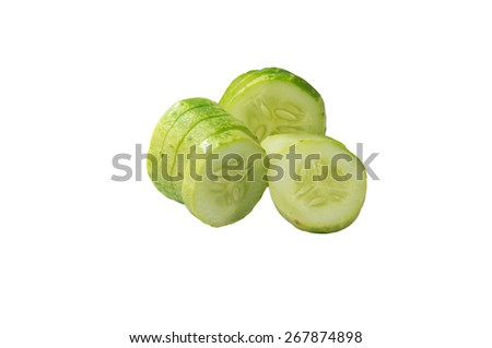 Cucumber and slices isolated on white backgroud - stock photo