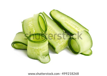 Cucumber and slices isolated on white background.