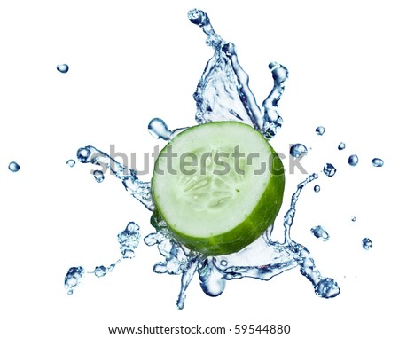cucumber in spray of water. Juicy cucumber with splash on background - stock photo