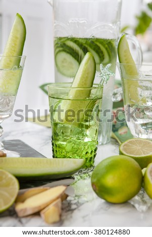 Cucumber infused water with ginger and lime