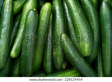 Cucumber Raw fruit and vegetable backgrounds overhead perspective, part of a set collection of healthy organic fresh produce - stock photo