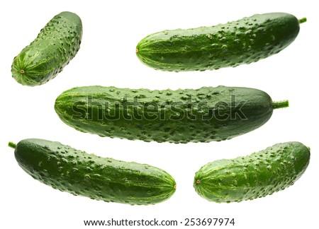 Cucumber set isolated on white background - stock photo