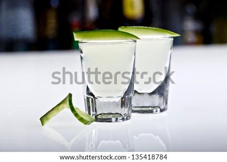 cucumber shots - stock photo