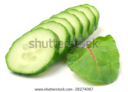 Cucumber slices studio isolated on white background