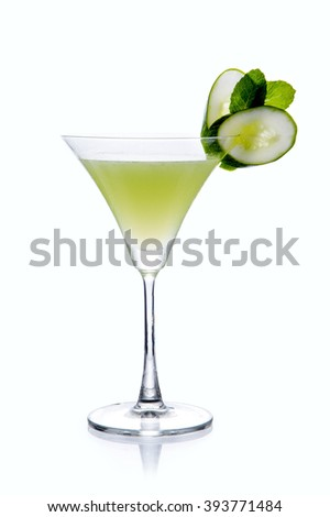 Cucumber & Thyme Martini Cocktail serve in Chilled Martini glass garnish with a cucumber twist - Minimalist - stock photo