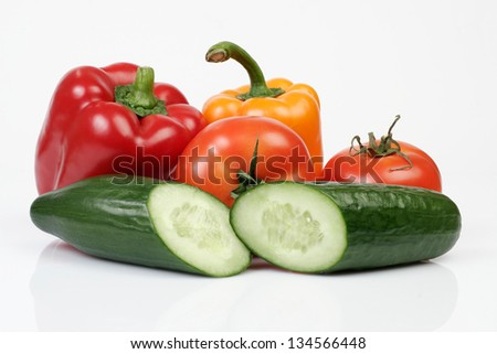 Cucumber, tomatoes and other