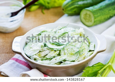 Cucumber with Celery and Dill salad in yogurt dressing