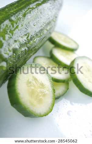 cucumber with panes - stock photo