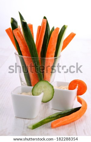 cucumbers and carrots in a glass