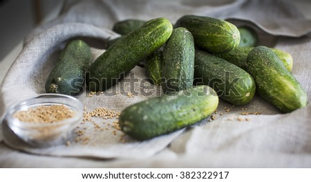 Cucumbers and mustard seeds as an ingredient for pickles