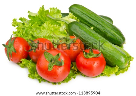 Cucumbers and tomatoes ready for salad